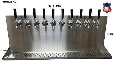 Wall Mount Beer Dispenser 10 Faucets-Steel Draft Beer Tower made in USA-WMD36-10