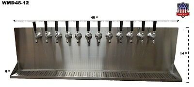 Wall Mount Beer Dispenser 12 Faucets-Steel Draft Beer Tower made in USA-WMD48-12