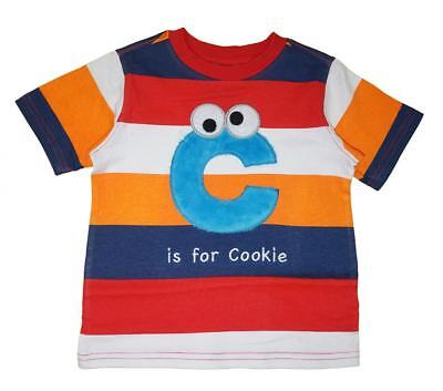 Sesame Street Infant Boys Cookie Monster Striped Top Size 12M 18M 24M