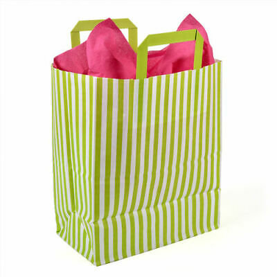 250 x 140 x 300mm Lime Striped Paper Carrier - Pack of 10