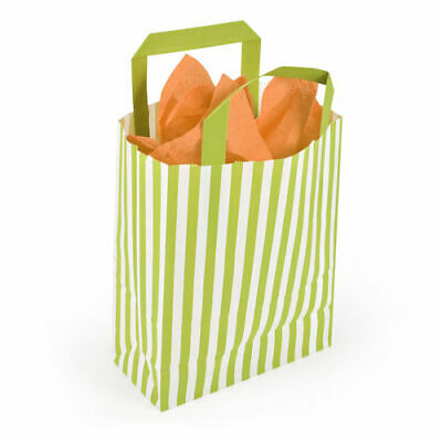 180 x 80 x 230mm Lime Striped Paper Carrier - Pack of 10