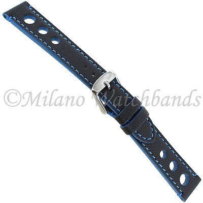 18mm Morellato Blue & Black Rubber Canvas Texture Stitched Watch Band