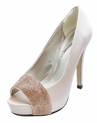 Ladies Champagne Satin Bridal Bride Bridesmaid Prom Open-Toe Wedding Shoes 3-8