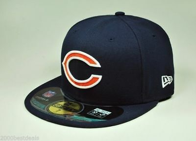 e04eee20e30ac5 New Era 59Fifty Cap NFL Chicago Bears On Field Navy Blue Orange Fitted 5950  Hat