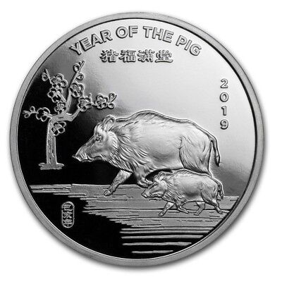 1 Troy Oz.999 Solid Silver Art Round Apmex: 2019 Year of the PIG, Chinese Zodiac
