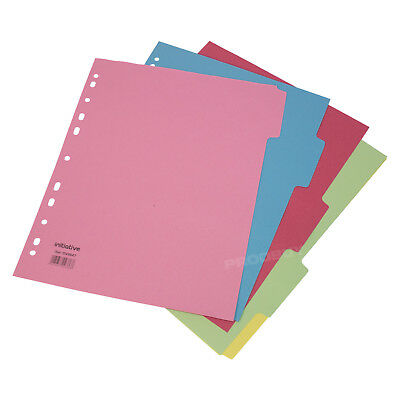 10 x A4+ Extra Wide 5 Part Dividers Insert Ring Binder Punched Pockets Folder