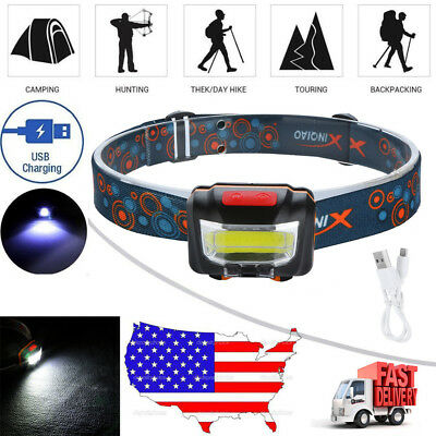 8000LM USB Rechargeable Induction COB LED Headlamp Flashlight Headlight Torch R0