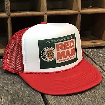 3bd32694959 Red Man Chew Vintage 80's Style Trucker Hat Snapback Red Tobacco Pouch Logo