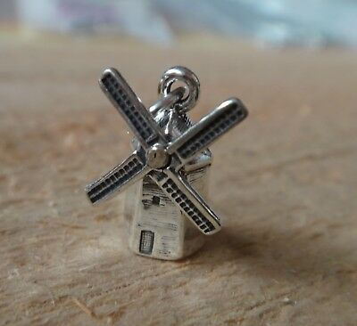 Dutch windmill HOLLAND .925 Solid Sterling Silver European Spacer Bead Charm