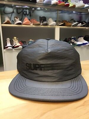 2d6204ed258 SS16 Supreme Motion Logo Iridescent 5-Panel Snap Cap Hat Grey Box Logo Cdg  Tnf