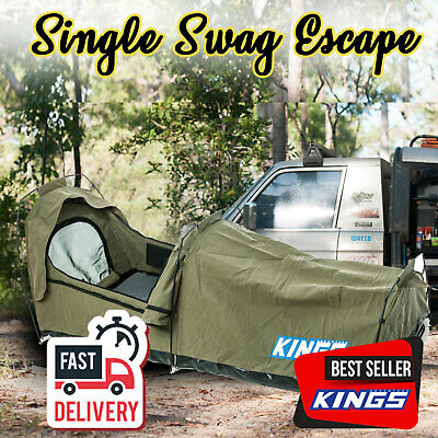 Adventure Kings Single Swag 215cmx90cm Canvas Camping 400GSM Ripstop