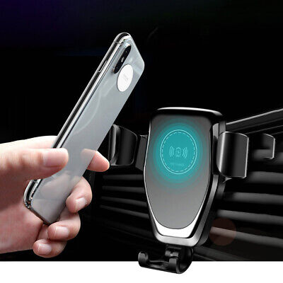 UK 10W Qi Fast Wireless Charger 2in1 Car Bracket For iPhone XS Max Samsung S9 S8