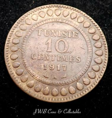 1917 Tunisia 10 Centimes Coin (Cleaned)