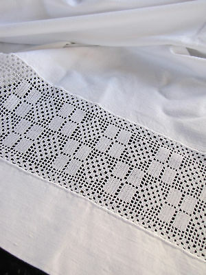Sheet Vintage French Crocheted White Details Beautiful Antique
