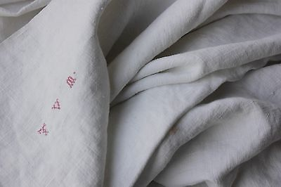 Antique French linen sheet old linen 78X87 metis  material WASHED