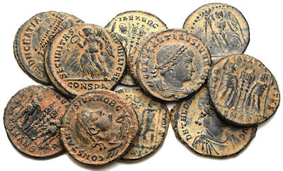 FORVM VF Lot of 10 VF Late Roman Bronze Coins 300-450 AD