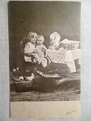 cpa jouet cheval à roulette toilette ancien postcard antique toy horse child ak