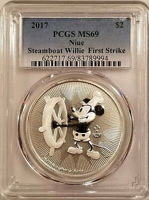 2017 Niue Steamboat Willie 1oz .999 Fine Silver PCGS MS69 - First Strike