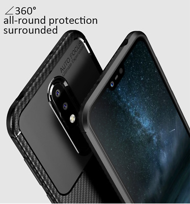 Nokia 8.1/7.1 Case Plus Protective Carbon Fibre Silicone Matte Frosted Cover
