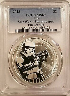 2018 Niue Star Wars Stormtrooper 1oz .999 Fine Silver PCGS MS69 - First Strike
