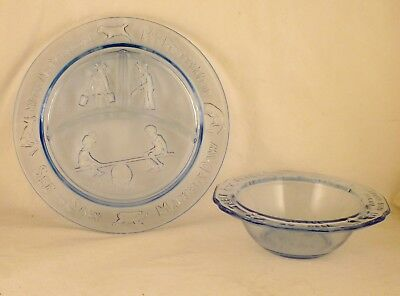 LIGHT BLUE GLASS CHILDS CEREAL/SOUP &  DIVIDED PLATE W/RAISED EDGE by Tiara