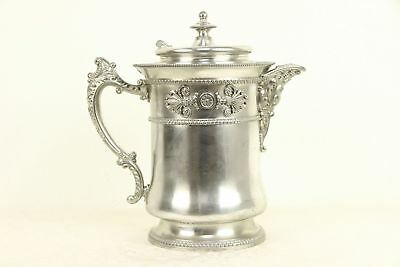 Victorian Antique Silverplate Water Pitcher, Pat. 1868, Meriden, CT #30373