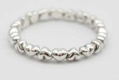 019d175b2 Pandora (190837) Sterling Silver, Size 7.75 Forever Love Heart Stacking Ring  NEW