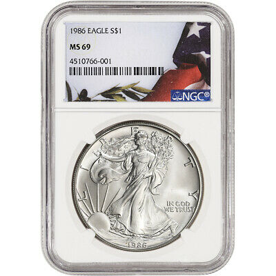 1986 American Silver Eagle - NGC MS69 - Flag Label