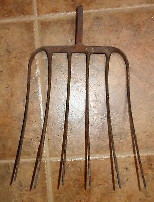 Old Vintage Metal Pitchfork 6 Tine Head Rustic Primitive Garden Farm Tool Iron?