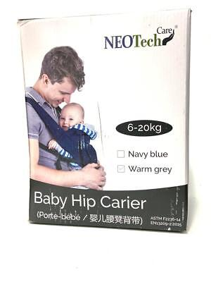 Baby Carrier Hip Seat 100% Cotton Neotech Care removable head support, Warm Grey