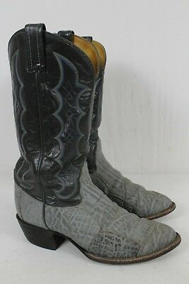 e1f95016a7f TONY LAMA MENS Elephant Patch Grey Leather Cowboy Boots sz 9 D