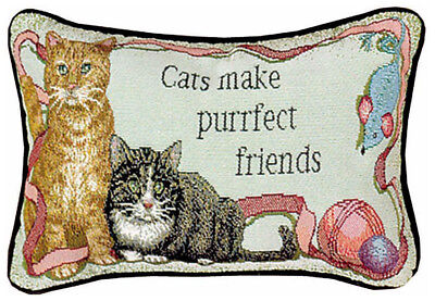 "PILLOWS /""MY THERAPIST HAS WHISKERS/"" THROW PILLOW 17/"" x 9/"" CAT PILLOW"