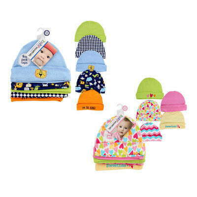 5 PACK Baby Infant Assorted Caps Hats Set 100% COTTON 0-6 Mo Boys, Girls BL , PK
