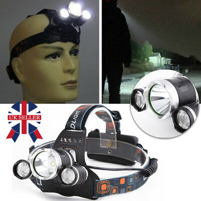 12000LM 3 x XML CREE T6 LED Rechargeable Head Torch Headlamp Light Lamp UK