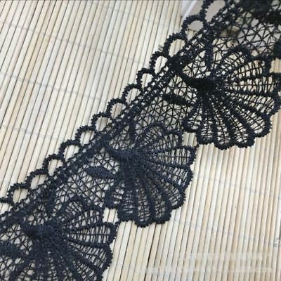 Shell Lace 1 Yard Black Polyester Trim Ribbon Applique Embroidered Sewing Craft