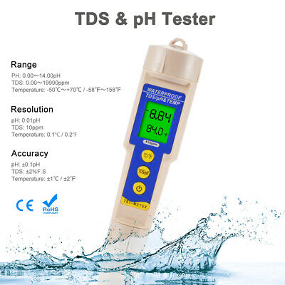 Digital PH/TDS/TEMP Tester Water Quality Monitor Test Pen LCD Backlight TH1207