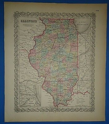 Vintage 1857 ILLINOIS Map Old Original Hand Colored Colton Atlas