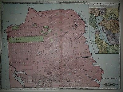 Vintage 1898 SAN FRANCISCO Atlas Map ~ Old Antique Original - Large Map