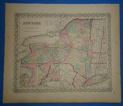 Vintage 1857 NEW YORK STATE Map - Old Original Hand Colored Colton's Atlas