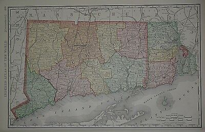 Vintage 1898 CONNECTICUT Map ~ Old Antique Original Atlas Map