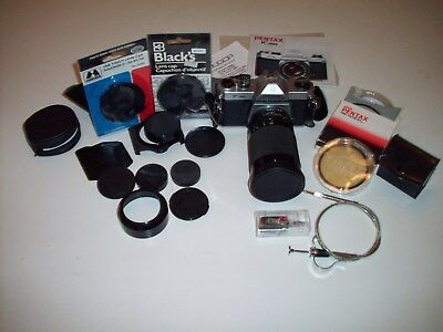 Vintage Pentax Asahi K1000 35mm Film Camera w/ 35-200mm Lens and accessories