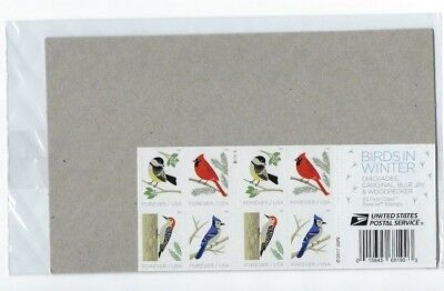 USPS Sealed 2018 Birds in Winter. Booklet of 20 Forever Stamps Cardinal Blue Jay