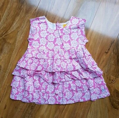 JOULES GIRLS FLUTTER Ruffle Summer Tunic Top RRP £29 Pink Floral. BRAND NEW