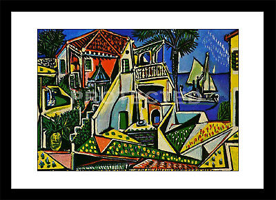 Pablo Picasso Mediterranean Landscape Black Framed Print Abstract Art Painting