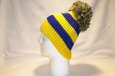 Luxury Yellow Blue Striped Bobble Hat Beanie Fleece Lined Mens Womens Kids New