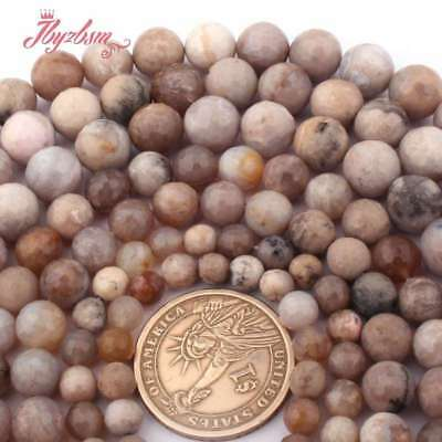 """6-10 Round Faceted Fossils Ocean Agate Natural Gemstone Beads Jewelry Making 15"""""""