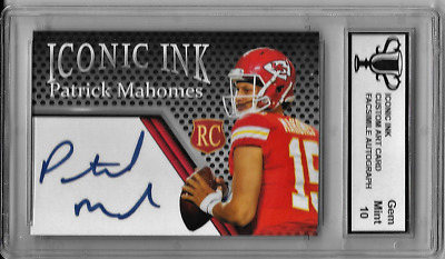 Patrick Mahomes Iconic Ink Custom Art Rookie Card with Facsimile Autograph Card