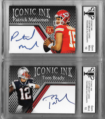 Tom Brady Patrick Mahomes Iconic Ink Custom Art Cards with Facsimile Autograph