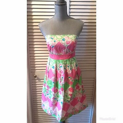 e41cdc9b5d05 Lilly Pulitzer Dress Size 8 Pink Green Diamond Patch Lions Strapless Pink  Tag