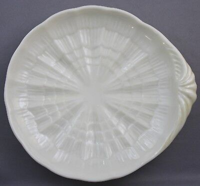 Belleek Tridacna Butter Tray 3rd Black Mark Cream Yellow 5 3/4""